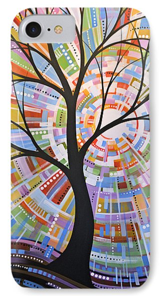 Original Abstract Tree Landscape Painting ... Here Comes The Sun IPhone Case