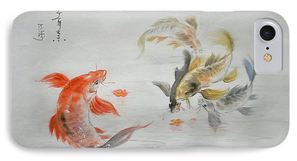 Original Animal  Oil Painting Art- Goldfish IPhone Case by Hongtao     Huang