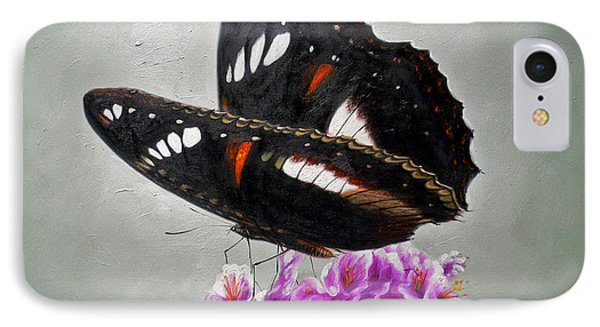 Original Animal Oil Painting Art-the Butterfly#16-2-1-09 IPhone Case by Hongtao     Huang