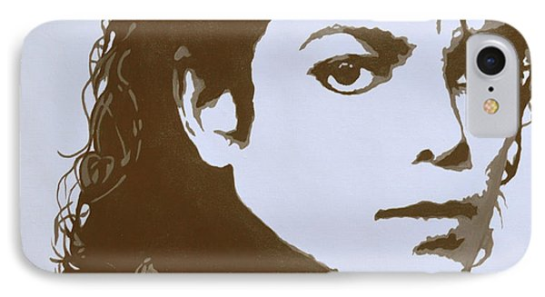 original black an white acrylic paint art- portrait of Michael Jackson#16-2-4-12 IPhone Case by Hongtao     Huang