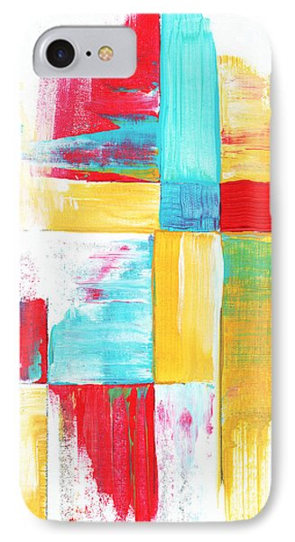 Original Bold Colorful Abstract Painting Patchwork By Madart Phone Case by Megan Duncanson