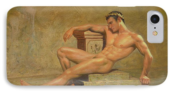 Original Classic Oil Painting Gay Man Body Art Male Nude -023 IPhone Case by Hongtao     Huang