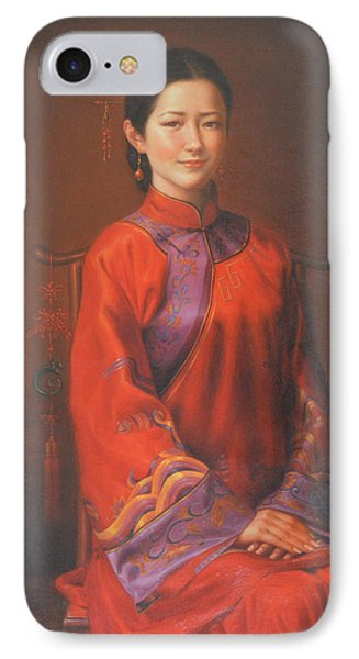 Original Classic Portrait Oil Painting Woman Art - Beautiful Chinese Bride Girl IPhone Case by Hongtao     Huang