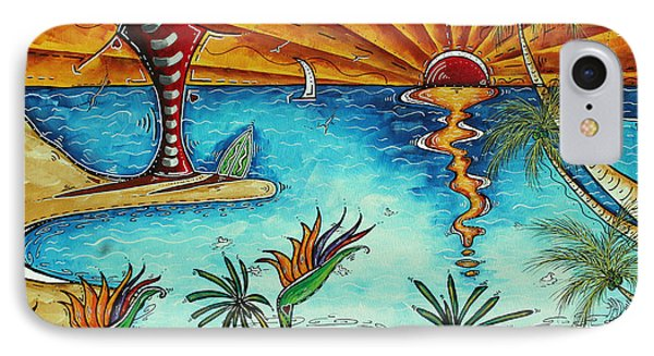 Original Coastal Surfing Whimsical Fun Painting Tropical Serenity By Madart Phone Case by Megan Duncanson