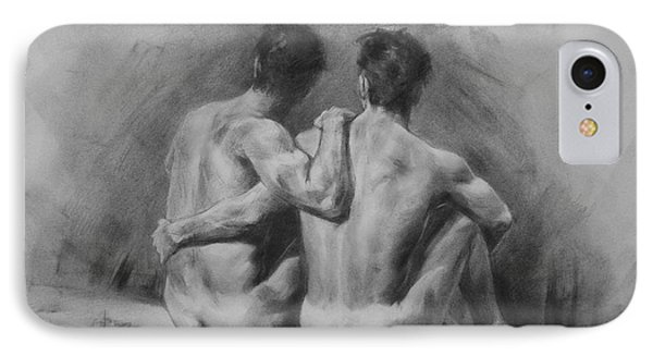 Original Drawing Sketch Charcoal Chalk Male Nude Gay Man Art Pencil On Paper By Hongtao IPhone Case by Hongtao     Huang