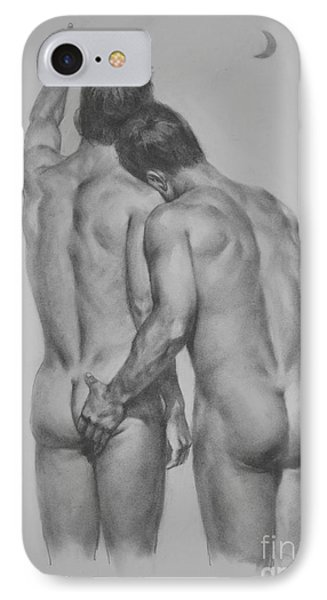 Original Drawing Sketch Charcoal Chalk Male Nude Gay Man Moon Art Pencil On Paper By Hongtao IPhone Case by Hongtao     Huang