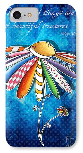Original Hand Painted Daisy Quilt Painting Inspirational Art Quote By Megan Duncanson IPhone Case by Megan Duncanson