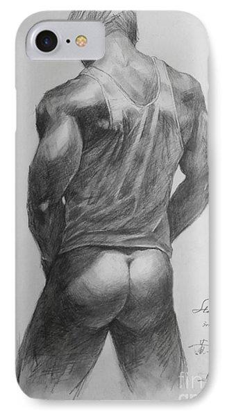 Original Man Gay Pencil Drawing Sketch Art On Peper By Hongtao IPhone Case