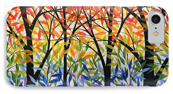 Original Modern Rainbow Trees Painting ... Spectrum Of Trees IPhone Case by Amy Giacomelli