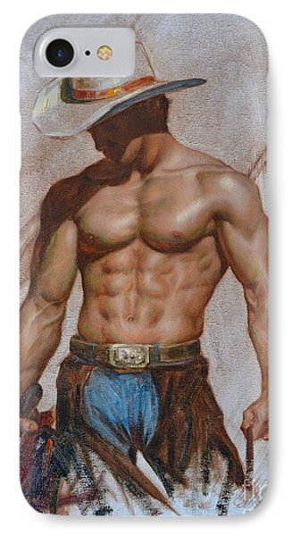 Original Oil Painting Gay Man Body Art-cowboy#16-2-5-19 IPhone Case by Hongtao     Huang