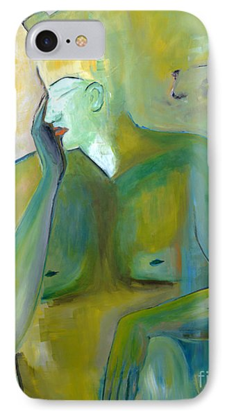 Original Painting Green Figurative Man Portrait Abstract Unique Decorative Abstract Art Reproduction Phone Case by Marie Christine Belkadi