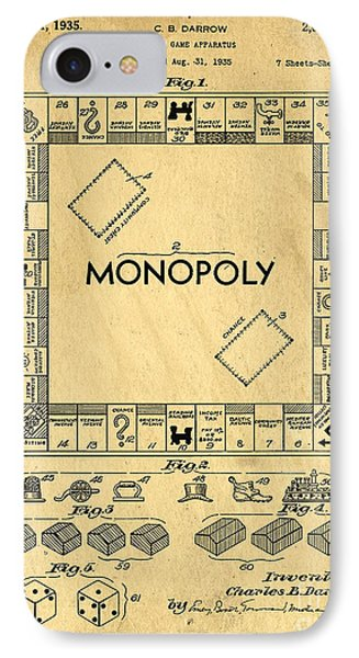 Original Patent For Monopoly Board Game Phone Case by Edward Fielding