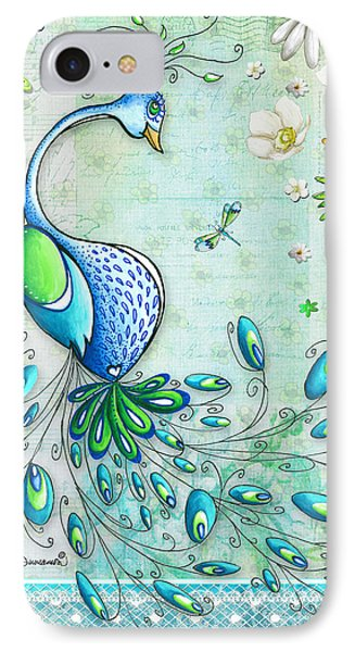 Peacock iPhone 7 Case - Original Peacock Painting Bird Art By Megan Duncanson by Megan Duncanson
