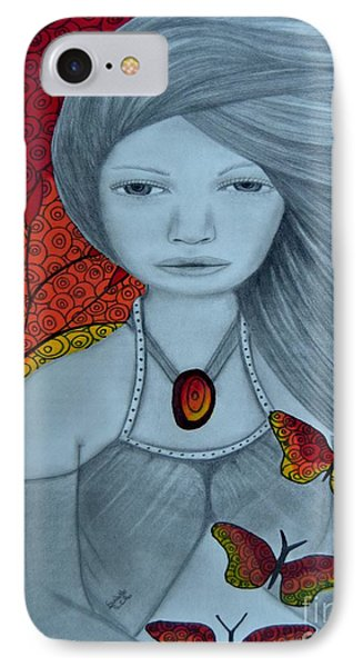Original Pencil Drawing Art The Wind Of The Spirit 2 By Saribelle Rodriguez IPhone Case