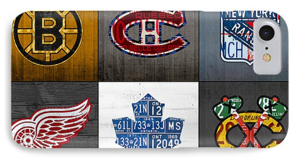 Original Six Hockey Team Retro Logo Vintage Recycled License Plate Art IPhone Case