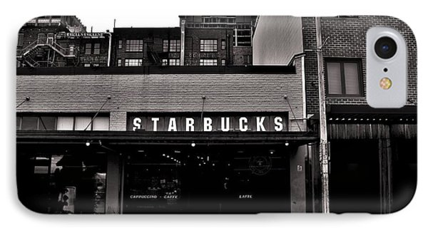 Original Starbucks Black And White IPhone Case by Benjamin Yeager