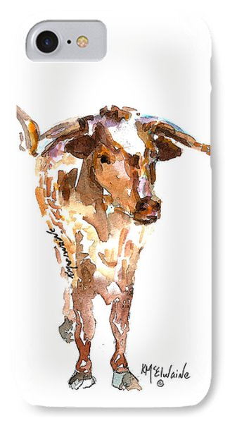 Original Longhorn Standing Earth Quack Watercolor Painting By Kmcelwaine IPhone Case by Kathleen McElwaine