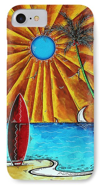 Original Tropical Surfing Whimsical Fun Painting Waiting For The Surf By Madart Phone Case by Megan Duncanson