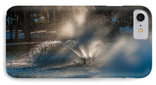 Ornamental Fountain In A Pond With Blurred Light Reflections IPhone Case by Hannelore Baron