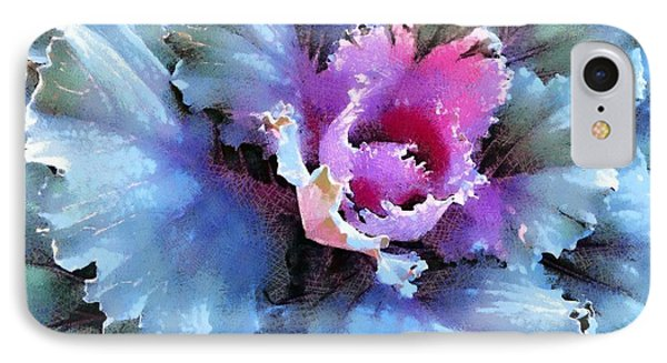 IPhone Case featuring the photograph Ornamental Kale -blue Green by Janine Riley