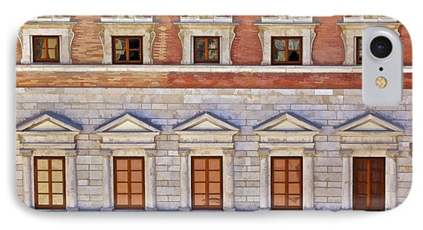Ornate Carved Stone Windows Of A Government Building In Tuscany Phone Case by David Letts