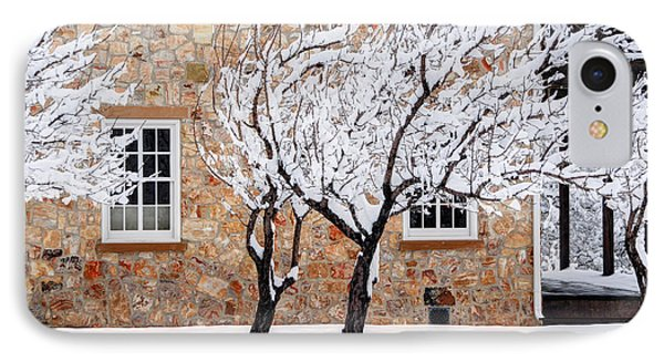 Ornate Historic Stone House In Winter IPhone Case by Gary Whitton