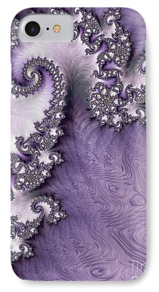 Ornate Lavender Fractal Abstract One  IPhone Case by Heidi Smith