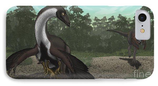 Ornithomimus Mother Dinosaur Phone Case by Vitor Silva