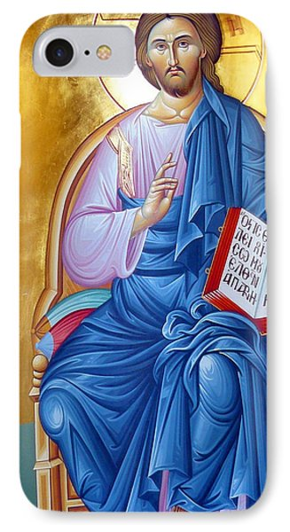 Orthodox Icon Of Jesus In Blue IPhone Case by Munir Alawi