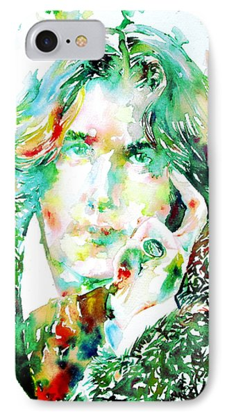 Oscar Wilde Watercolor Portrait.2 Phone Case by Fabrizio Cassetta