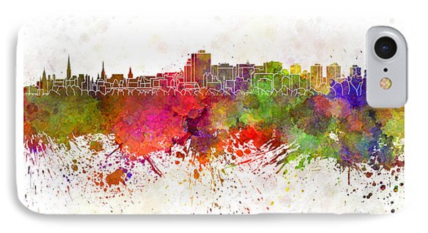 Ottawa Skyline In Watercolor Background IPhone Case