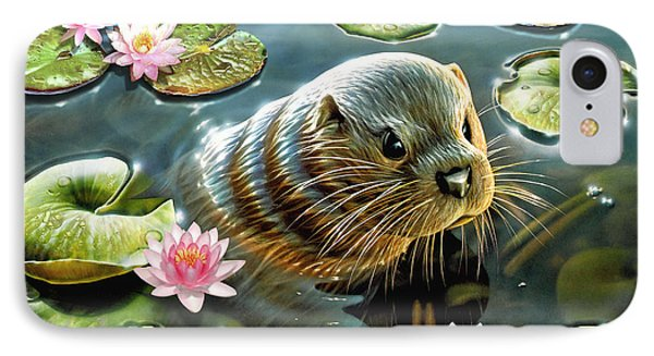 Otter In Water Lilies IPhone Case