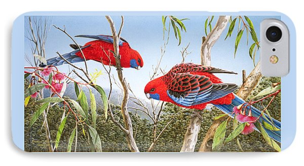 Our Beautiful Home - Crimson Rosellas IPhone Case by Frances McMahon