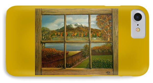 IPhone Case featuring the painting Out My Window-autumn Day by Sheri Keith