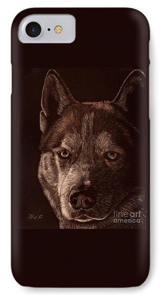 Out Of The Darkness Portrait Of A Husky IPhone Case by Margaret Sarah Pardy