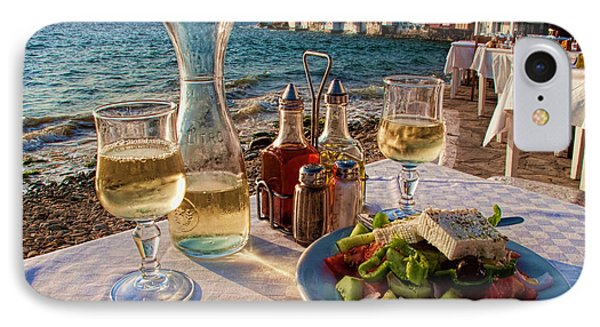 Outdoor Cafe In Little Venice In Mykonos Greece IPhone Case by David Smith