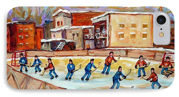 Outdoor Hockey Fun Rink Hockey Game In The City Montreal Memories Paintings Carole Spandau IPhone Case by Carole Spandau