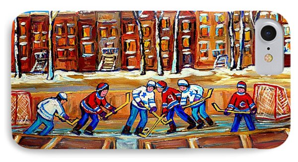 Outdoor Hockey Rink Winter Landscape Canadian Art Montreal Scenes Carole Spandau IPhone Case by Carole Spandau