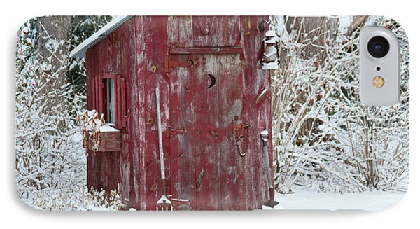 Outhouse Garden Shed In Winter, Marion IPhone Case by Panoramic Images