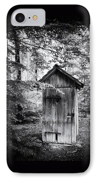 Outhouse In The Forest Black And White IPhone Case by Matthias Hauser