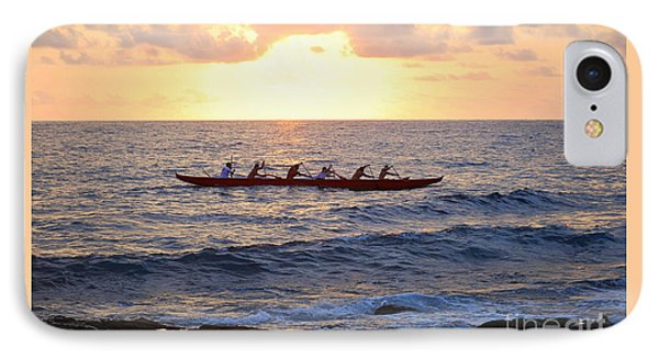 Outrigger Canoe At Sunset In Kailua Kona IPhone Case by Catherine Sherman