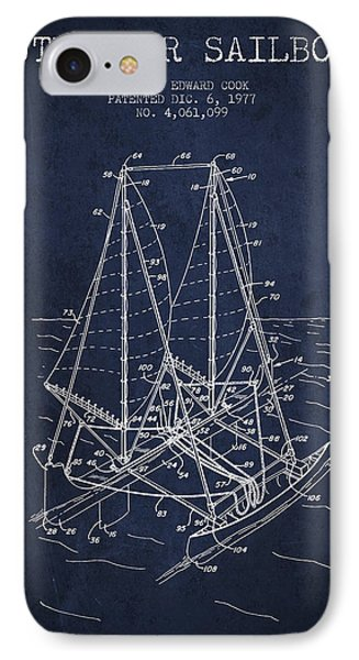 Outrigger Sailboat Patent From 1977 - Navy Blue IPhone Case