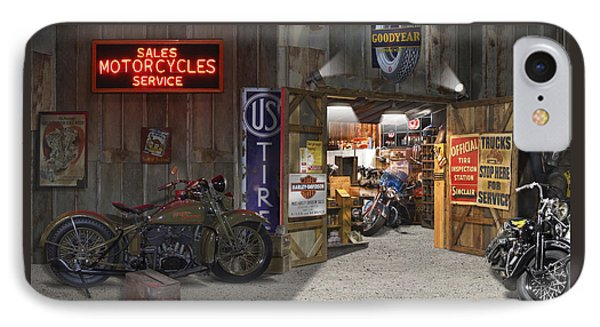 Outside The Motorcycle Shop IPhone Case by Mike McGlothlen