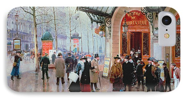 Outside The Vaudeville Theatre IPhone Case by Jean Beraud