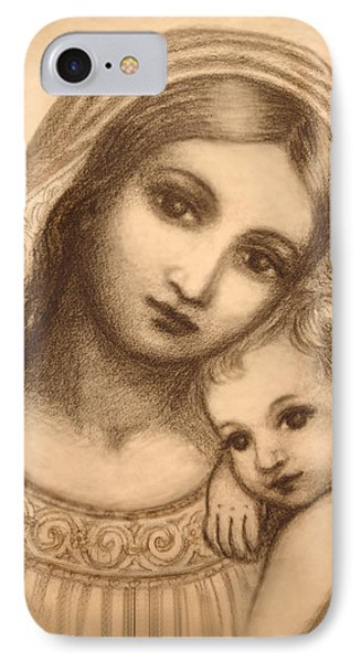 Oval Madonna Drawing IPhone Case by Ananda Vdovic