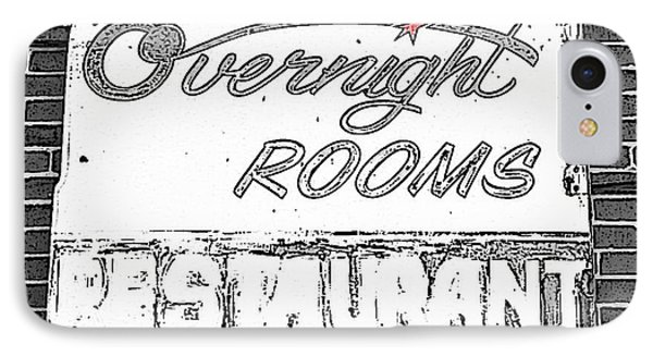 Overnight Rooms Sign Phone Case by Nina Silver