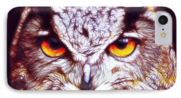 IPhone Case featuring the digital art Owl - Fractal by Lilia D