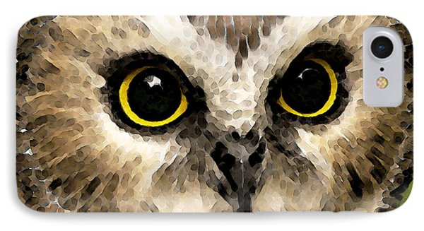 Owl Art - Night Vision Phone Case by Sharon Cummings