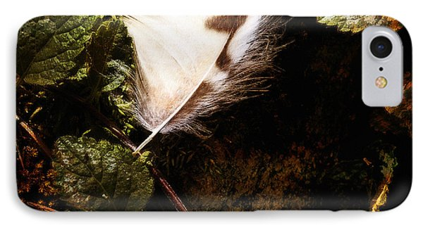 Owl Feather On Natures Canvas In Square IPhone Case by Lee Craig