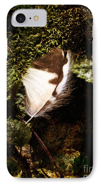 Owl Feather On Natures Canvas IPhone Case by Lee Craig